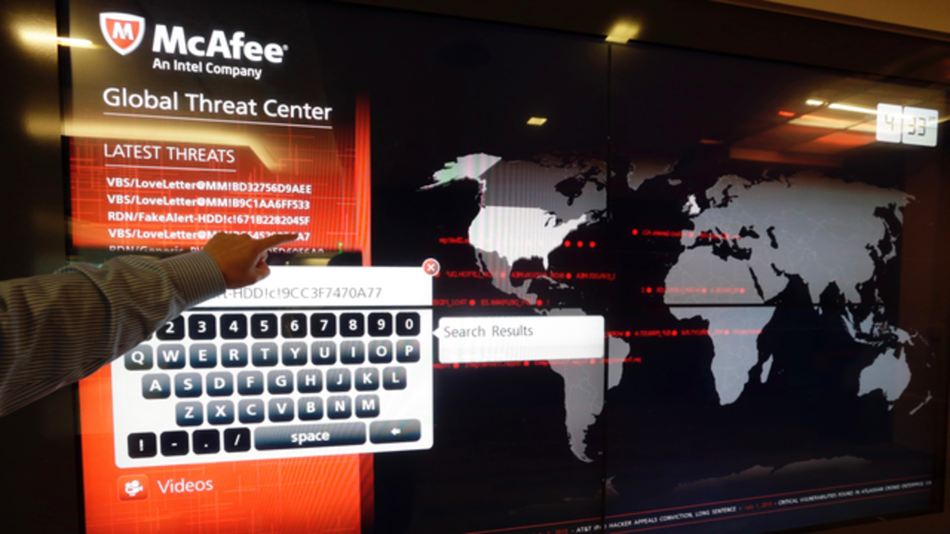 McAfee's Global Threat Center. Photo by AP.