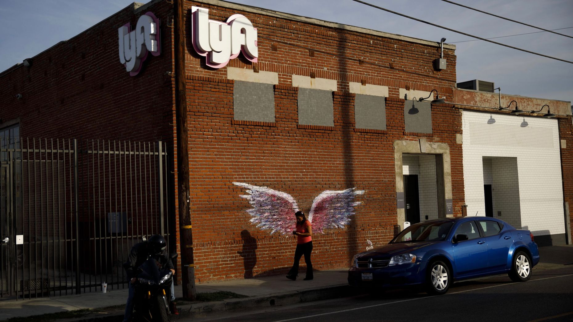 Lyft's driver hub in Los Angeles. Photo by Bloomberg.