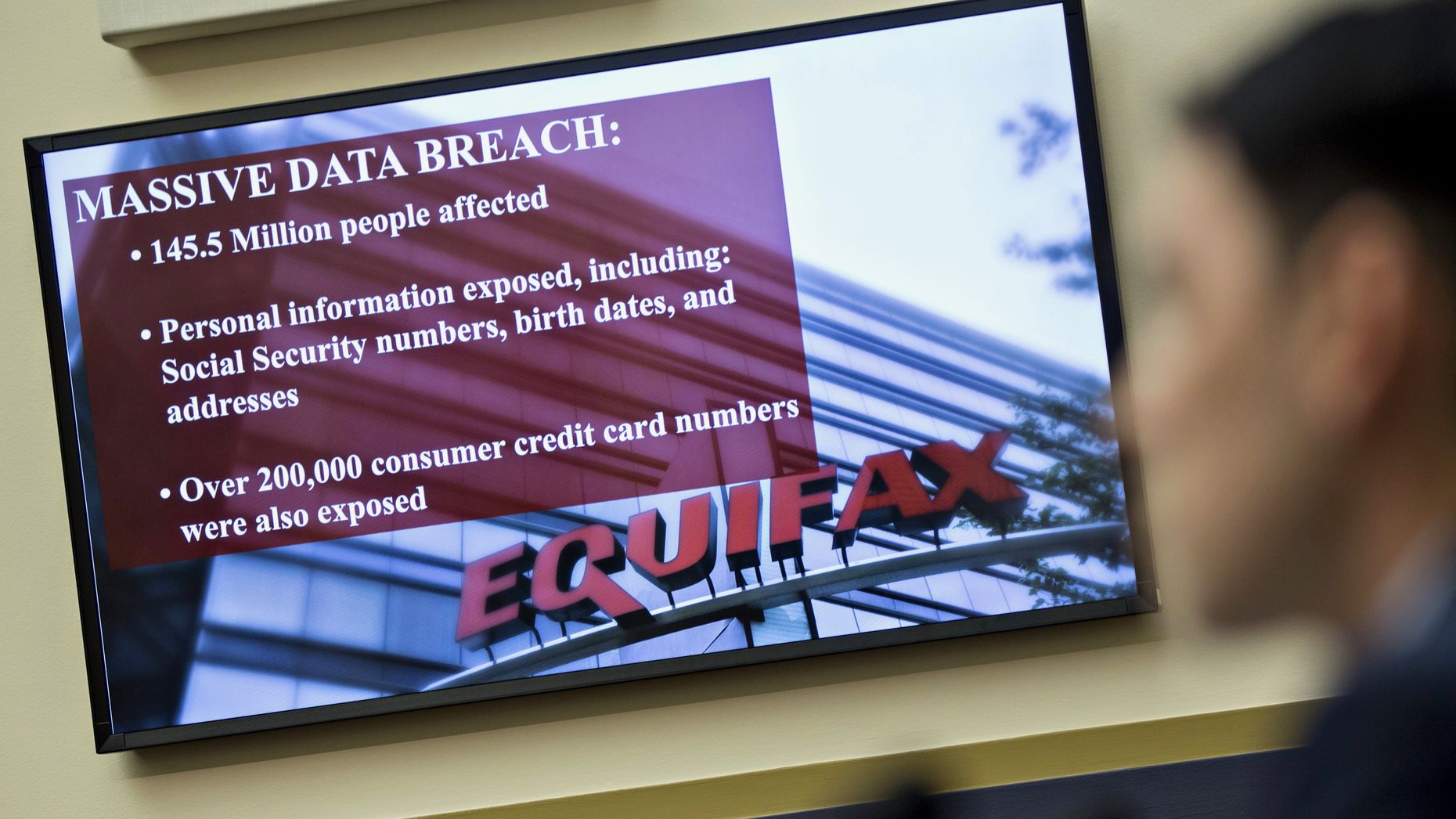 An Equifax slide on display during a congressional hearing into Equifax's data breach in October. Photo by Bloomberg.