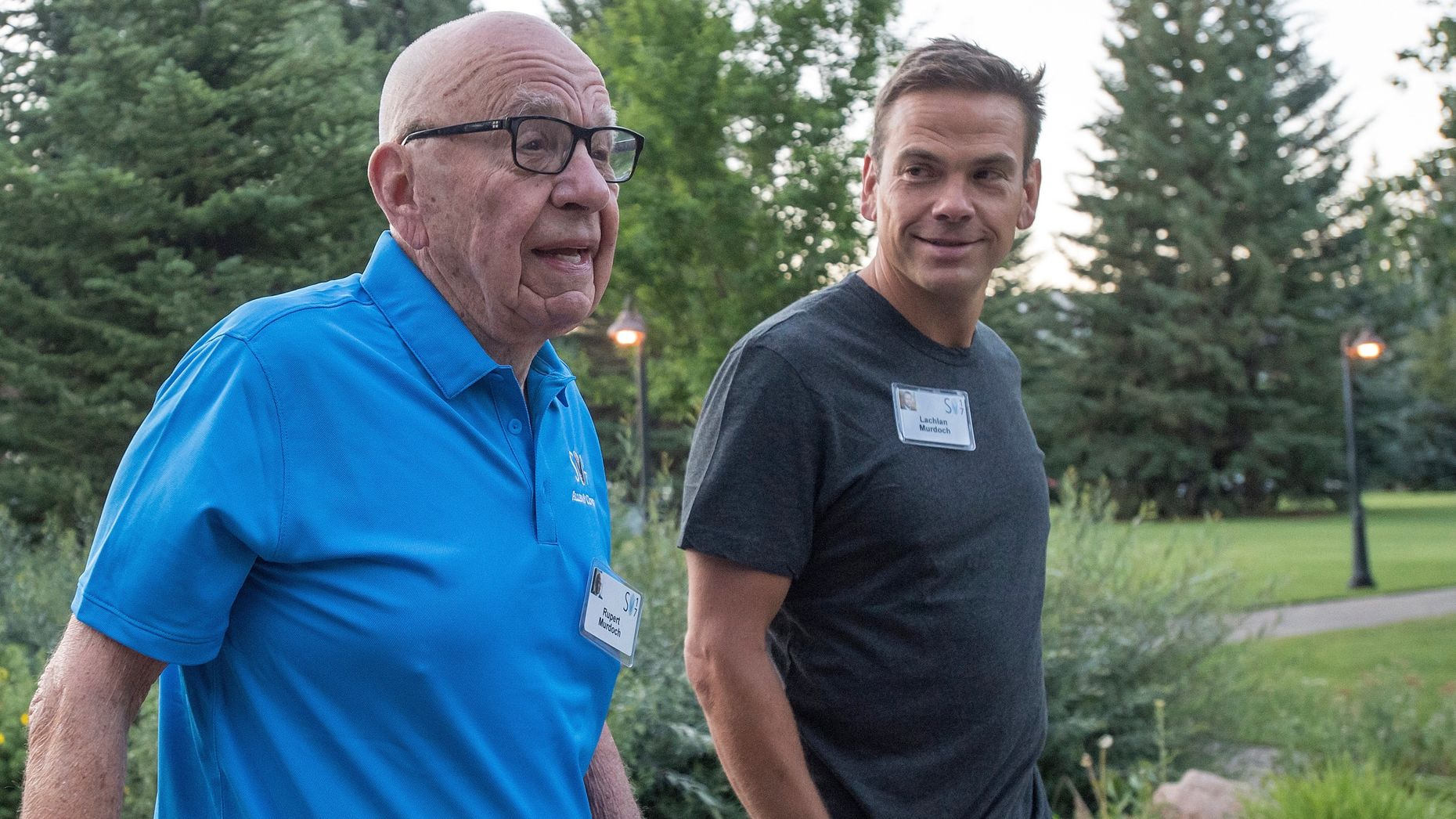 Rupert Murdoch with his son Lachlan at the Allen & Co conference in Sun Valley in July. Photo by Bloomberg.