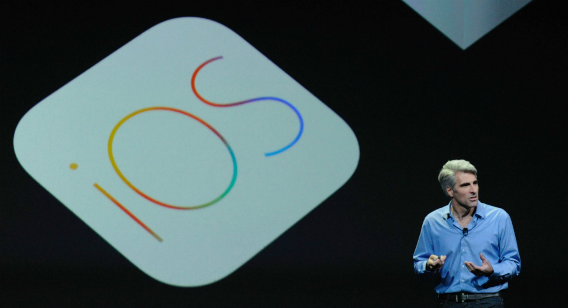 Apple's Craig Federighi introduces iOS 8. Photo by Bloomberg.