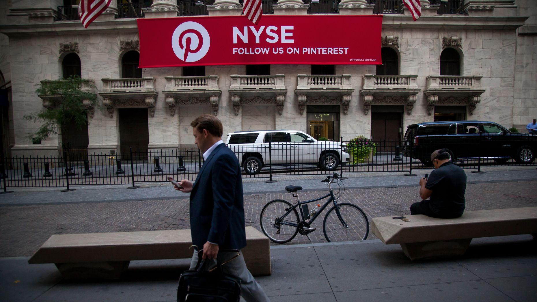 A Pinterest-branded banner on the New York Stock Exchange earlier this year. Photo by Bloomberg.