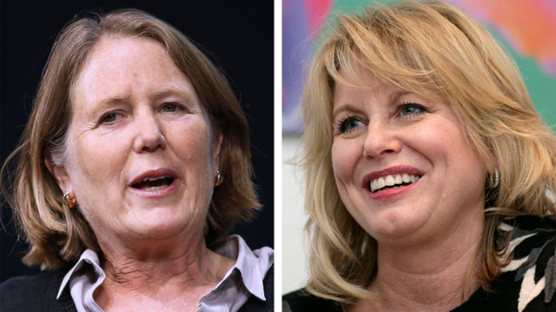Google Cloud chief Diane Greene and her deputy, Diane Bryant. Photos by Bloomberg.