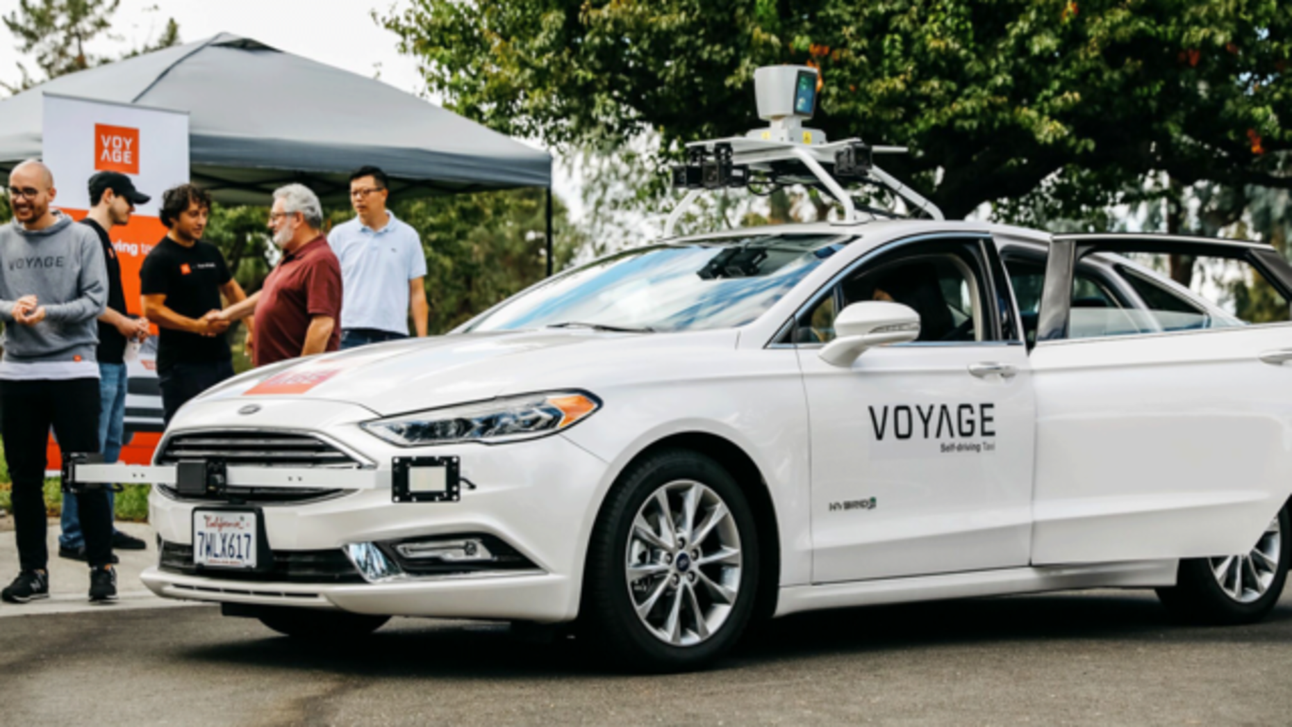 A Voyage self-driving car. Photo by Voyage.