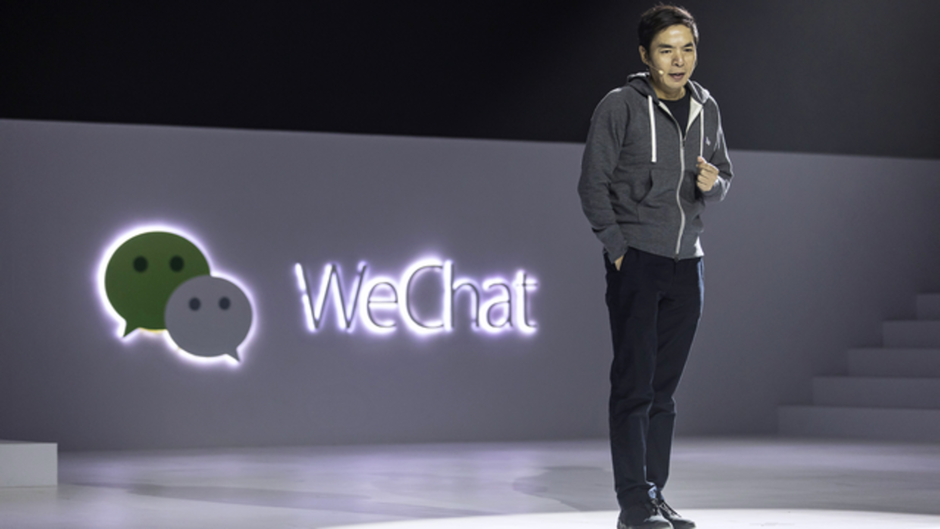 WeChat founder Allen Zhang speaking last month at a conference in Guangzhou, China. Photo by Bloomberg.