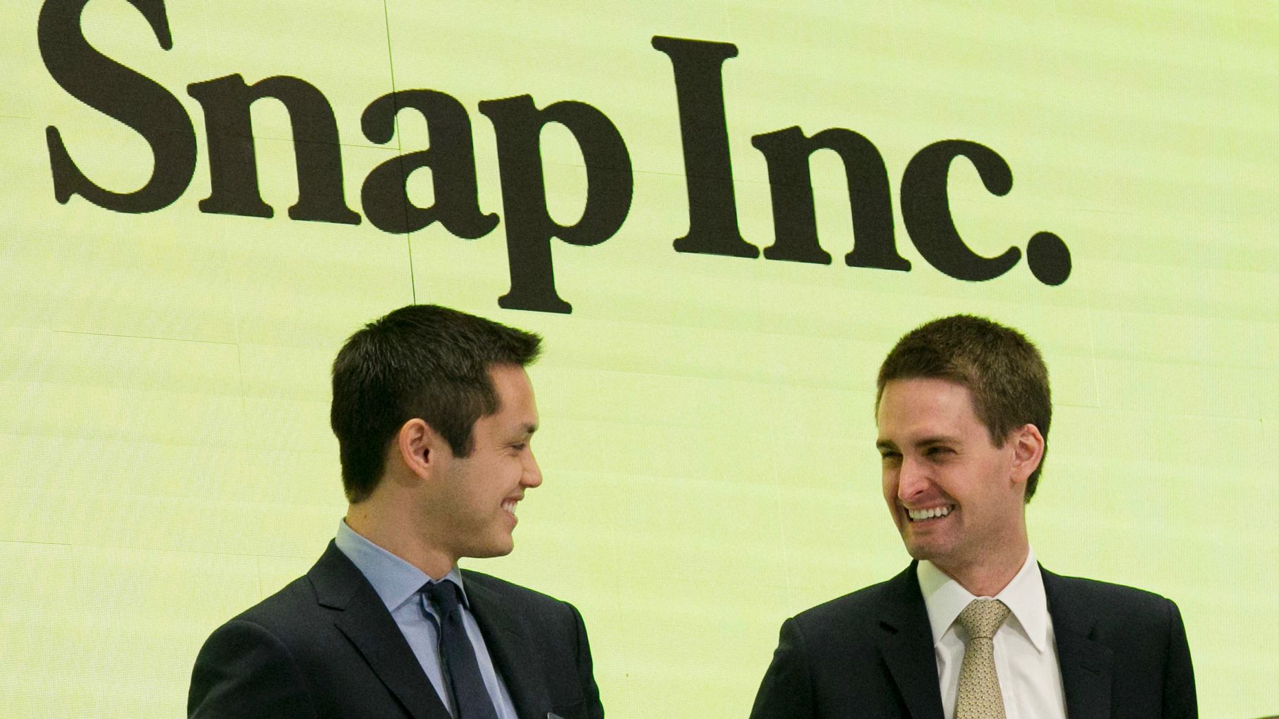 Snap's co founders, Bobby Murphy and Evan Spiegel at the New York Stock Exchange last year. Photo by AP.