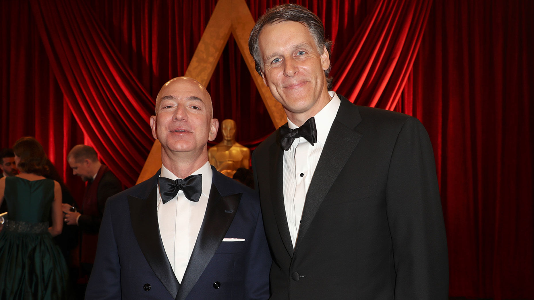 Jeff Bezos and Jeff Blackburn at the Academy Awards in 2017. Photo: Shutterstock