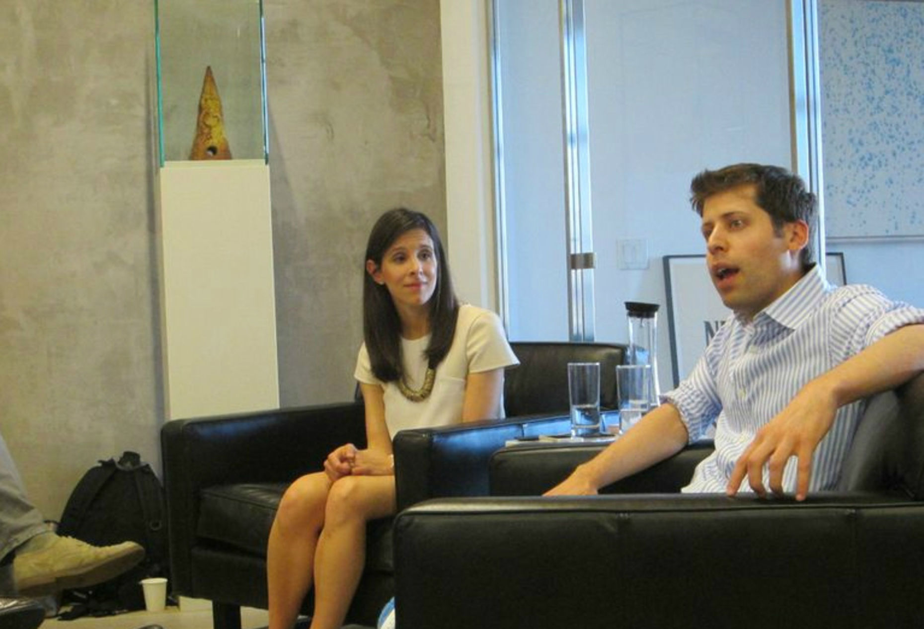 Jessica Lessin and Sam Altman at The Information's event in New York.