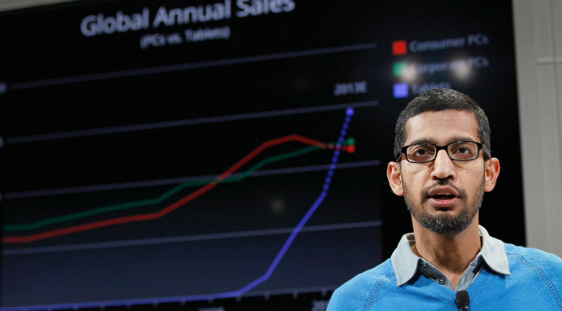 Google Senior Vice President Sundar Pichai. Photo by Bloomberg.