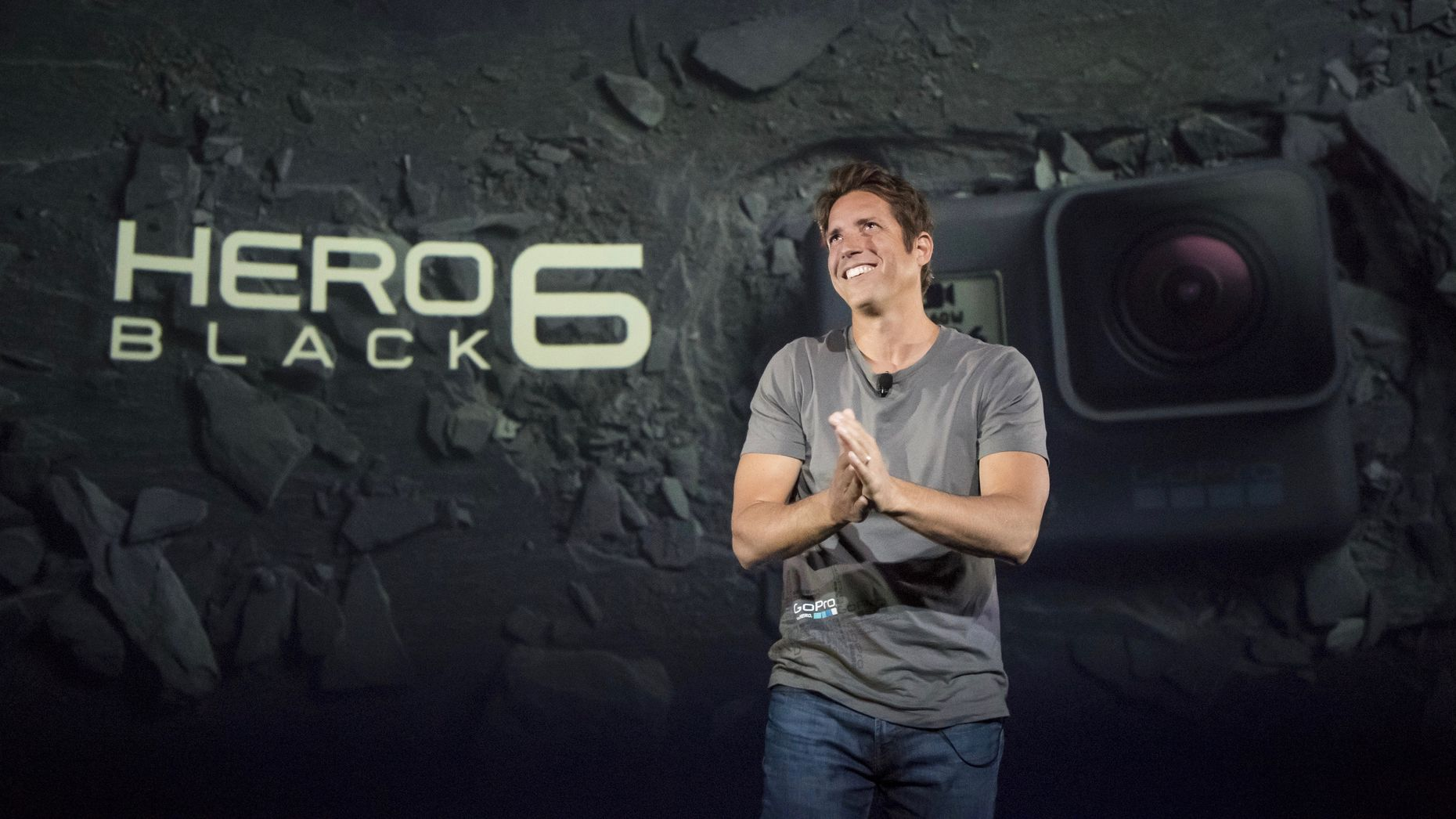 GoPro CEO Nick Woodman at an event last September, unveiling a new version of its Hero wearable action camera. Photo by Bloomberg.