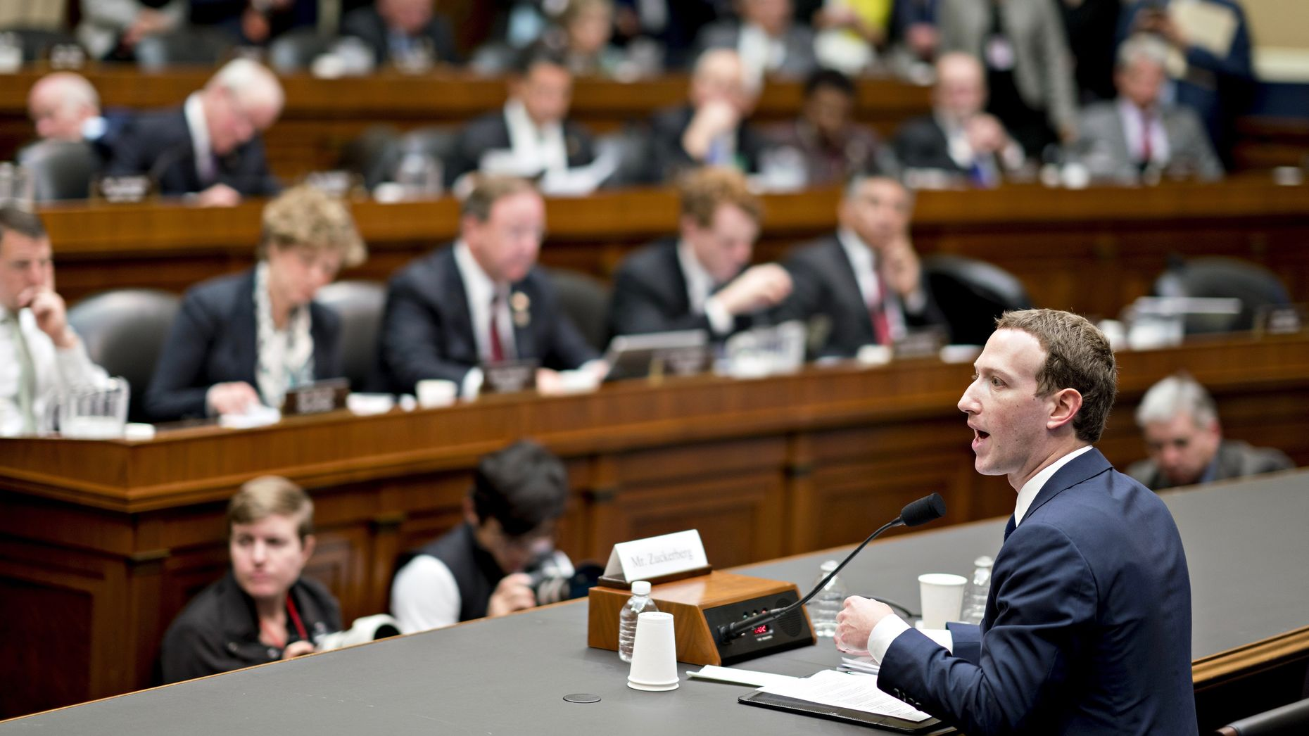Facebook CEO Mark Zuckerberg speaks to a House committee on Wednesday. Photo by Bloomberg.