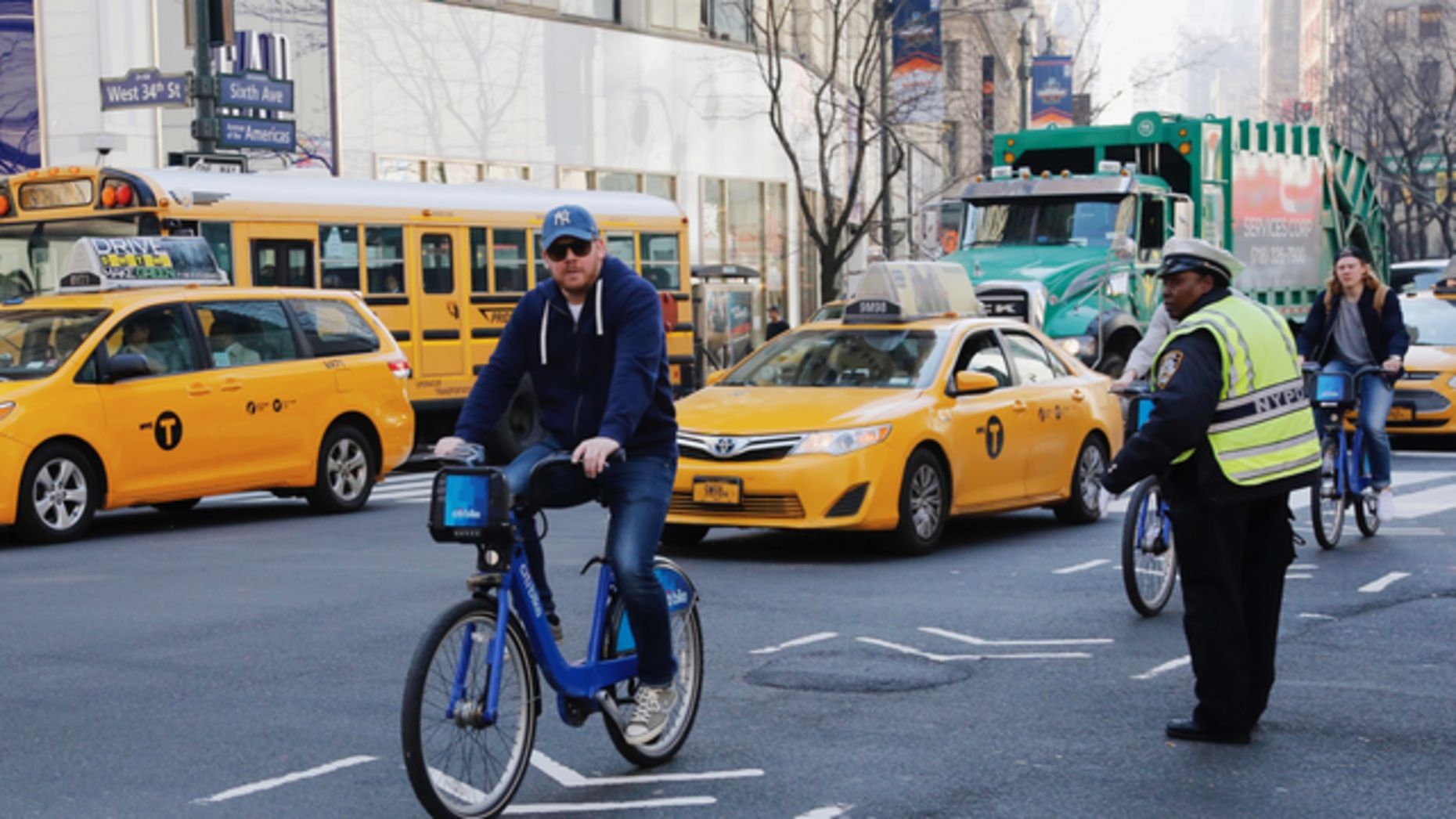A man rides a Citibike in New York. Photo: AP