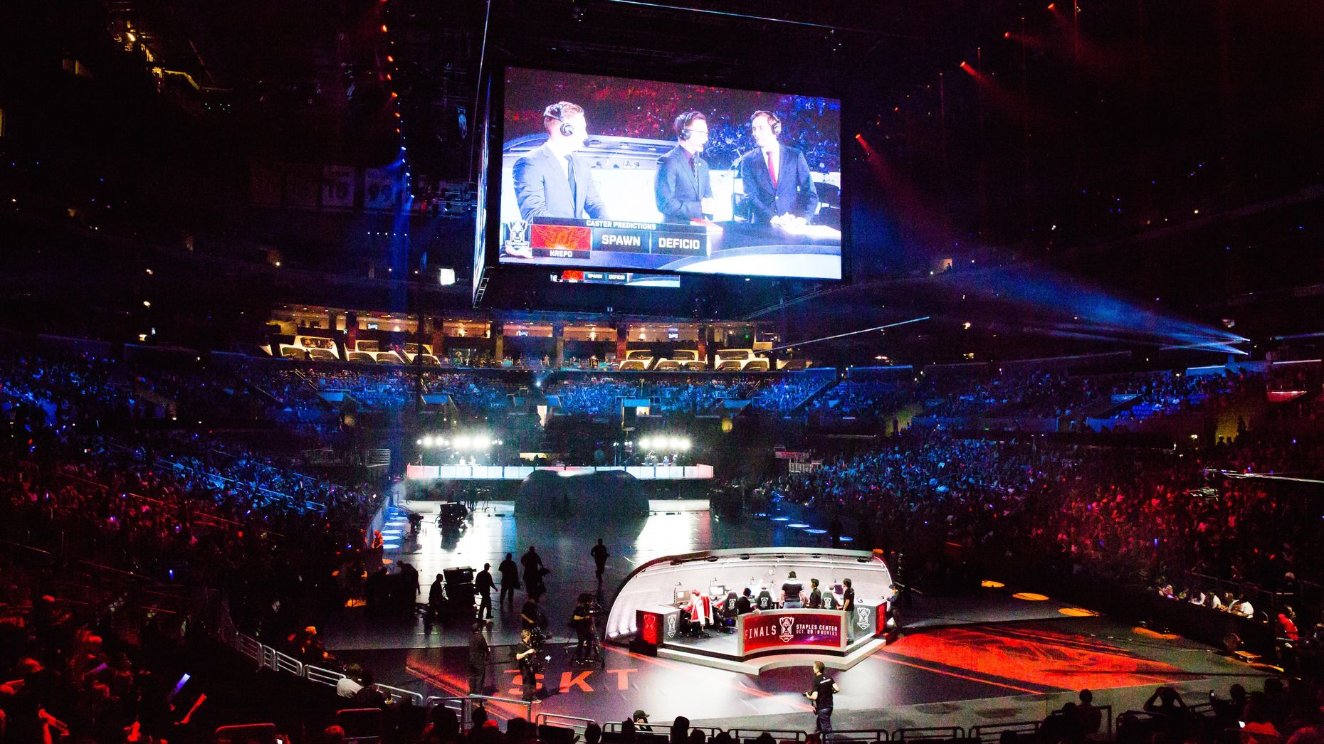 The League of Legends World Championship videogame tournament at the Staples Center in Los Angeles in 2016. Photo: Bloomberg