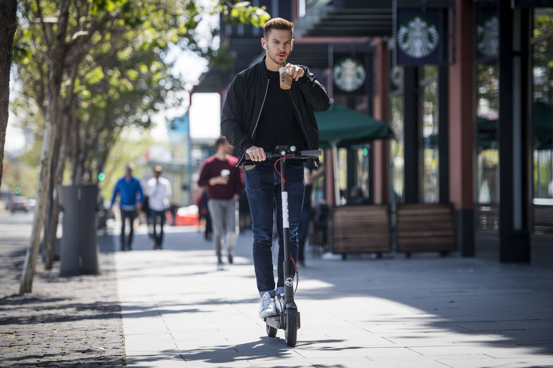 A Bird scooter being ridden in San Francisco last month. Photo: Bloomberg