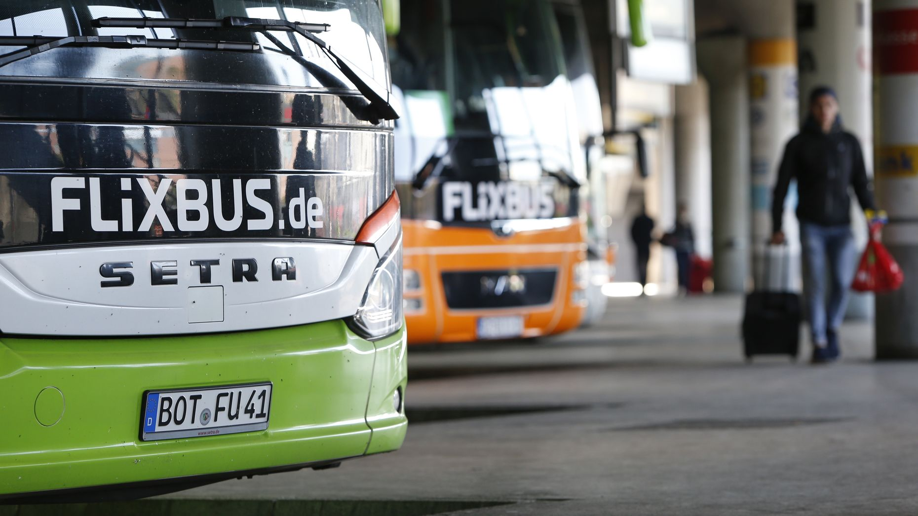 FlixBus buses in Munich. Photo by Bloomberg.