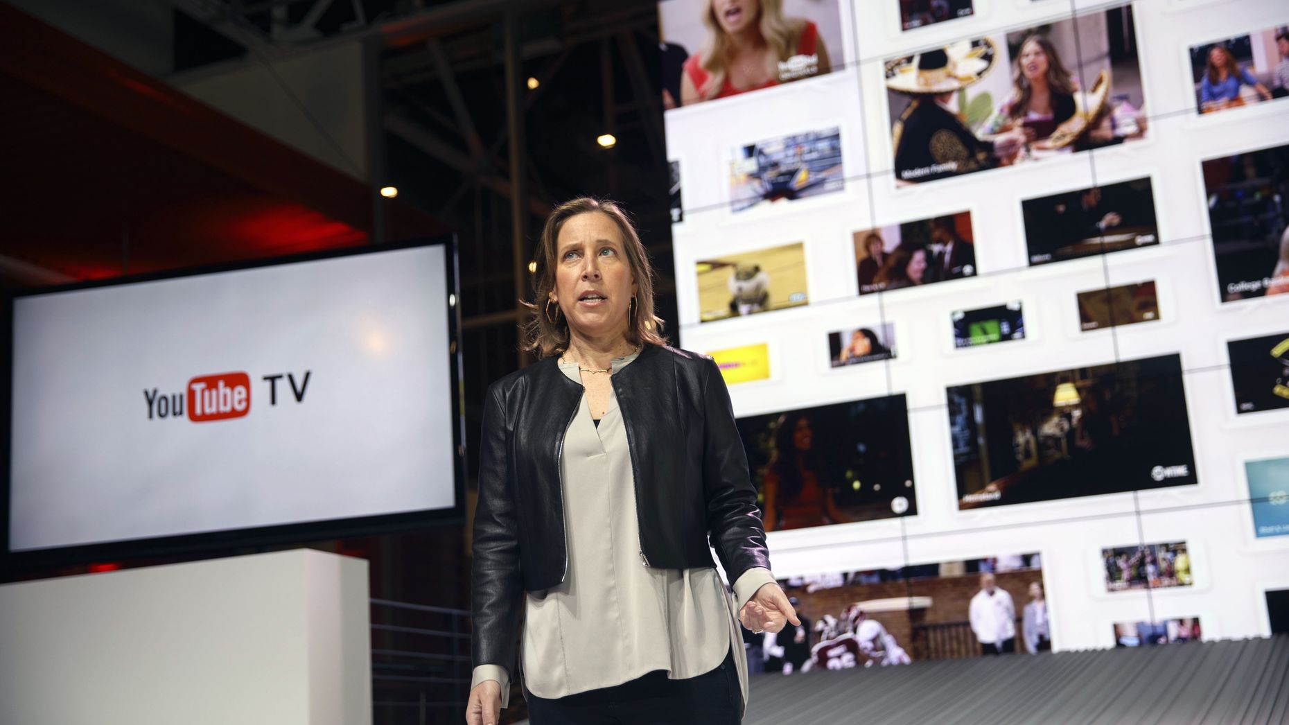 YouTube CEO Susan Wojcicki at the announcement of YouTube TV last year. Photo by Bloomberg.