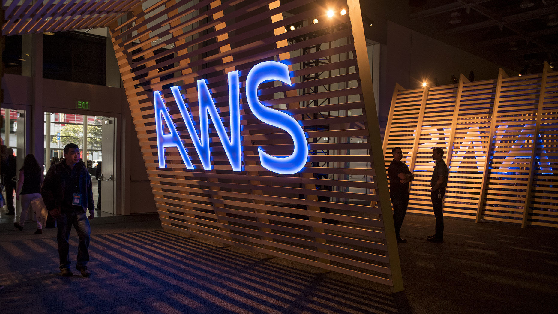 A sign for Amazon Web Services at a 2017 event in San Francisco. Photo: Bloomberg