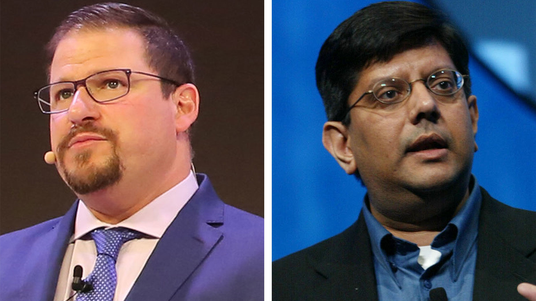 Cristiano Amon (L) and Anand Chandrasekher. Photos by Bloomberg