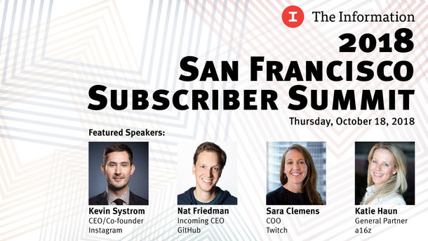 Instagram's Kevin Systrom, Github's Nat Friedman, Andreessen Horowitz's Katie Haun and Twitch's Sara Clemens to Speak at Information Summit