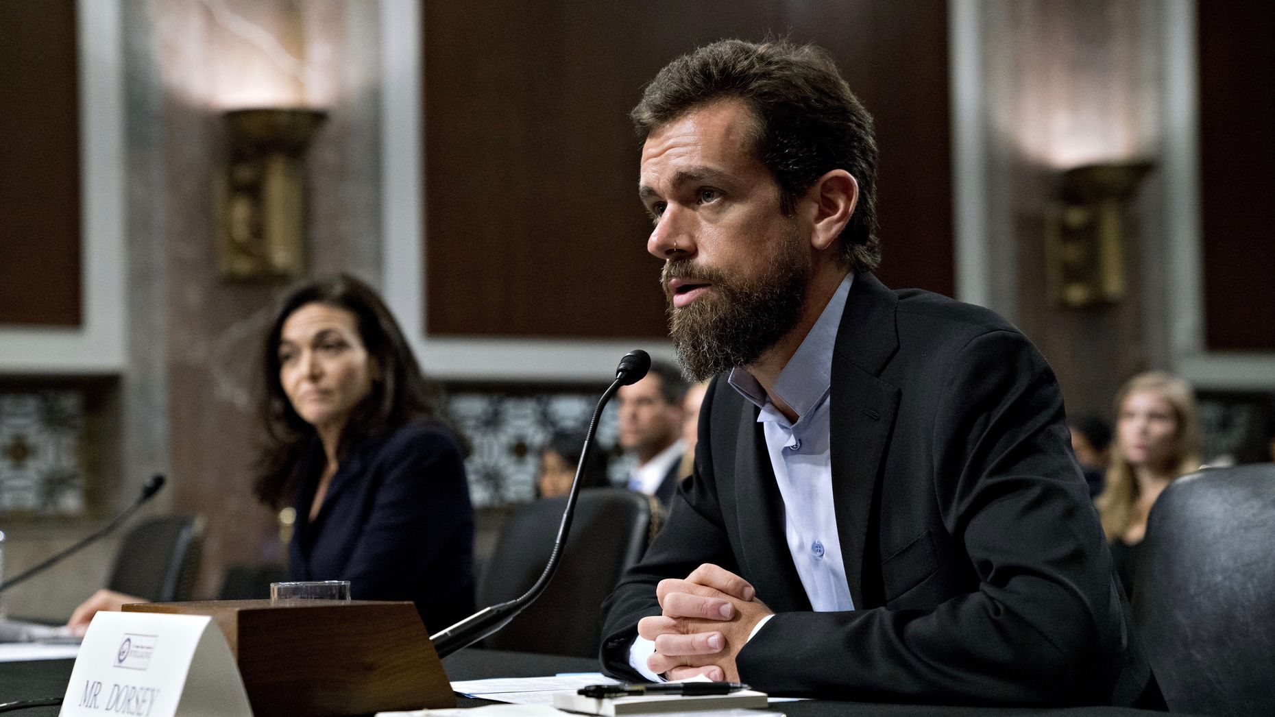 Facebook COO Sheryl Sandberg and Twitter CEO Jack Dorsey on Capitol Hill on Wednesday. Photo by Bloomberg