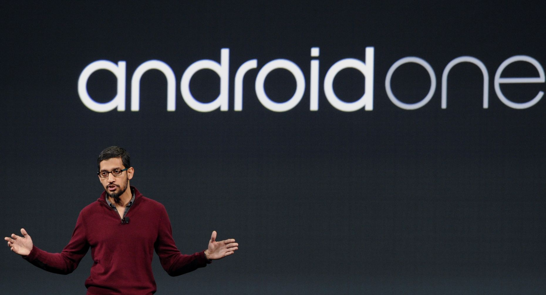 Google's Android chief, Sundar Pichai, introduces Android One in June. Photo by Bloomberg.