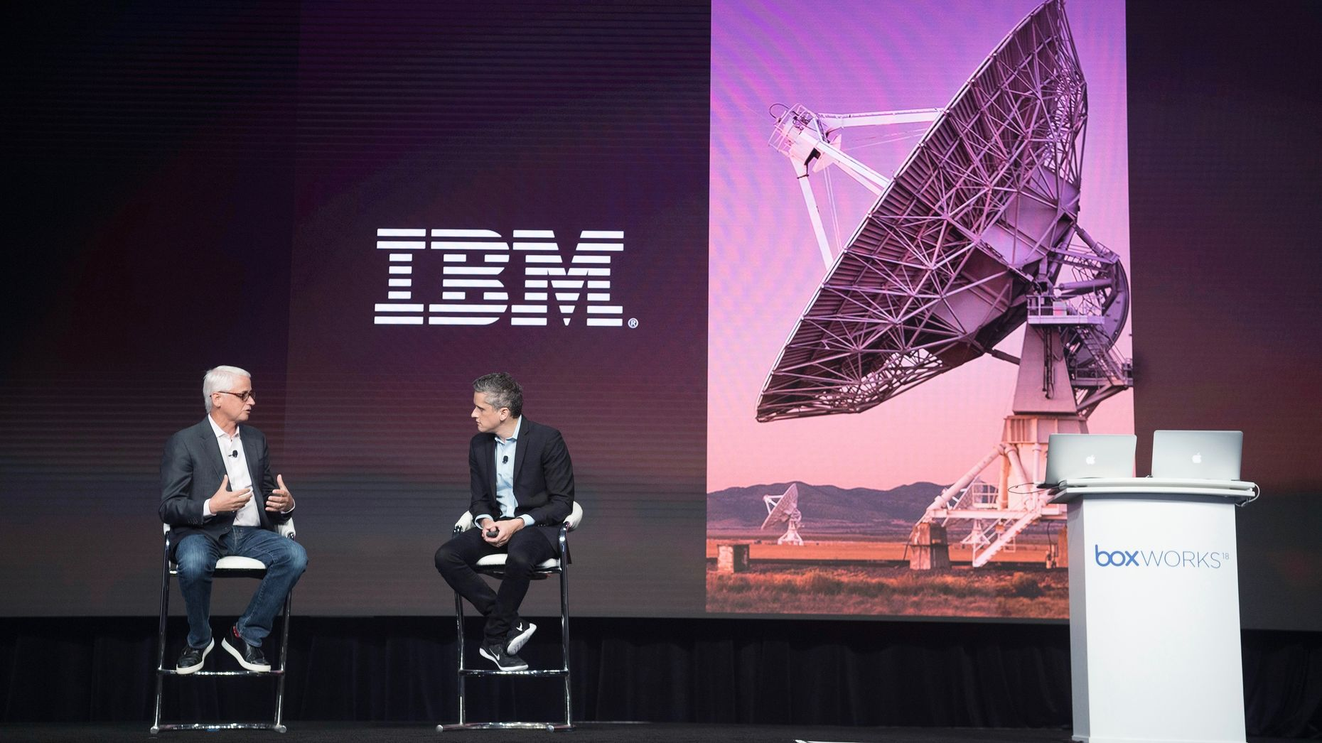 IBM's David Kenny talking with Box CEO Aaron Levie at a Box conference  in August. Photo by Bloomberg