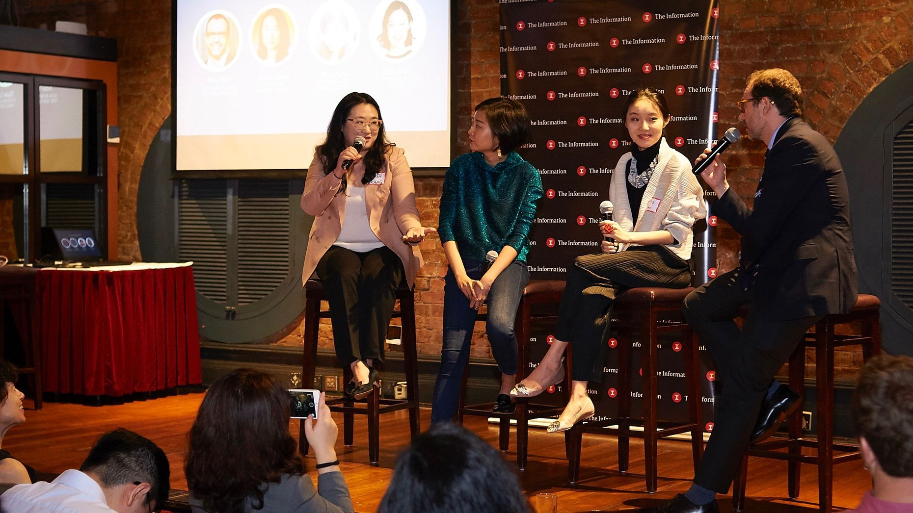 Karen Zhang, Elaine Lou and Daisy Guo at The Information's Hong Kong Subscriber Summit earlier this week, with The Information's Shai Oster. Photo by Brent Pottinger