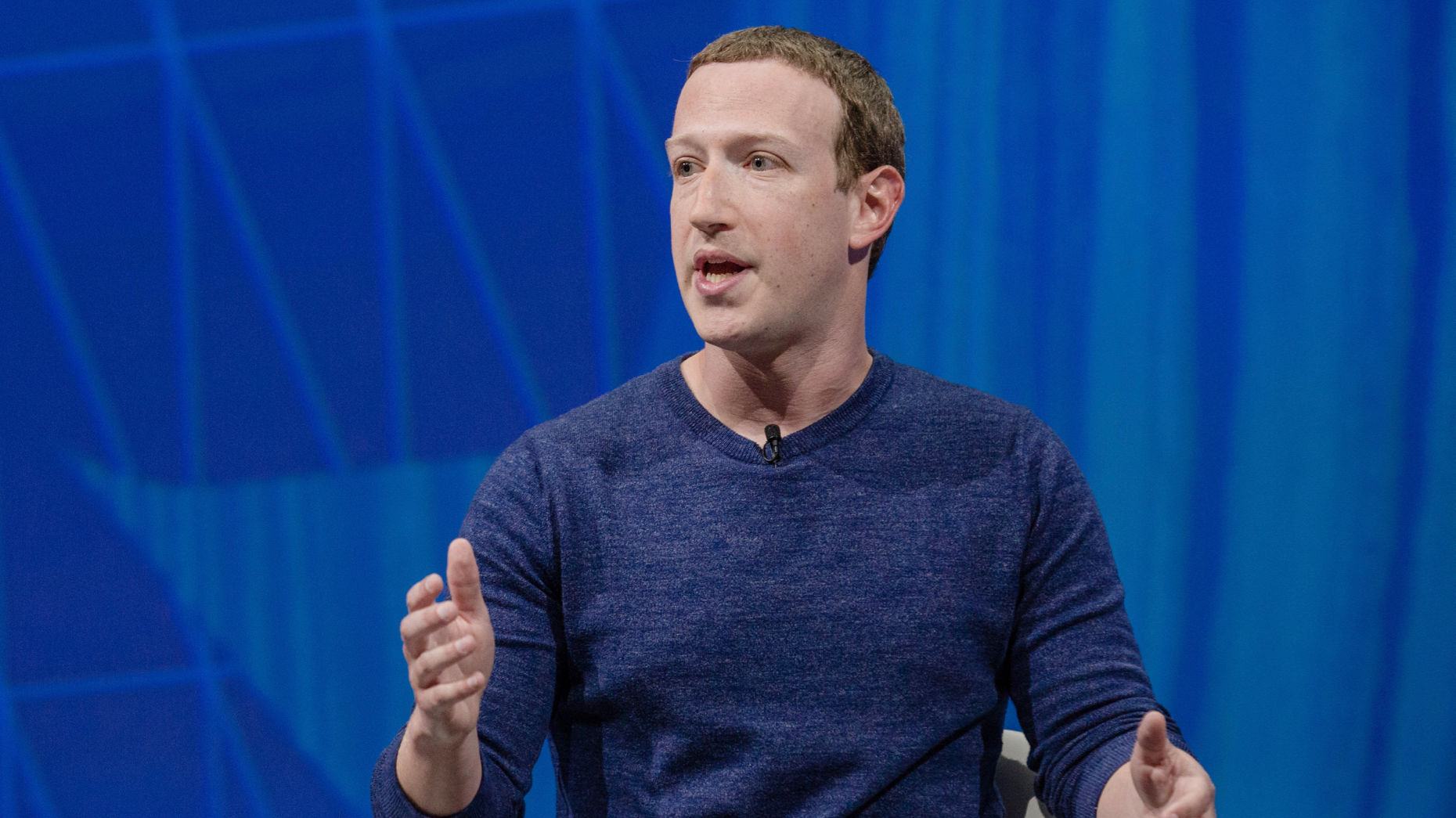 Facebook CEO Mark Zuckerberg speaking at a conference in Paris in May. Photo by Bloomberg