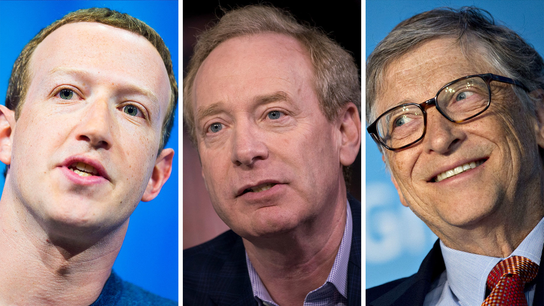 Mark Zuckerberg, Brad Smith and Bill Gates. Photos AP; Bloomberg