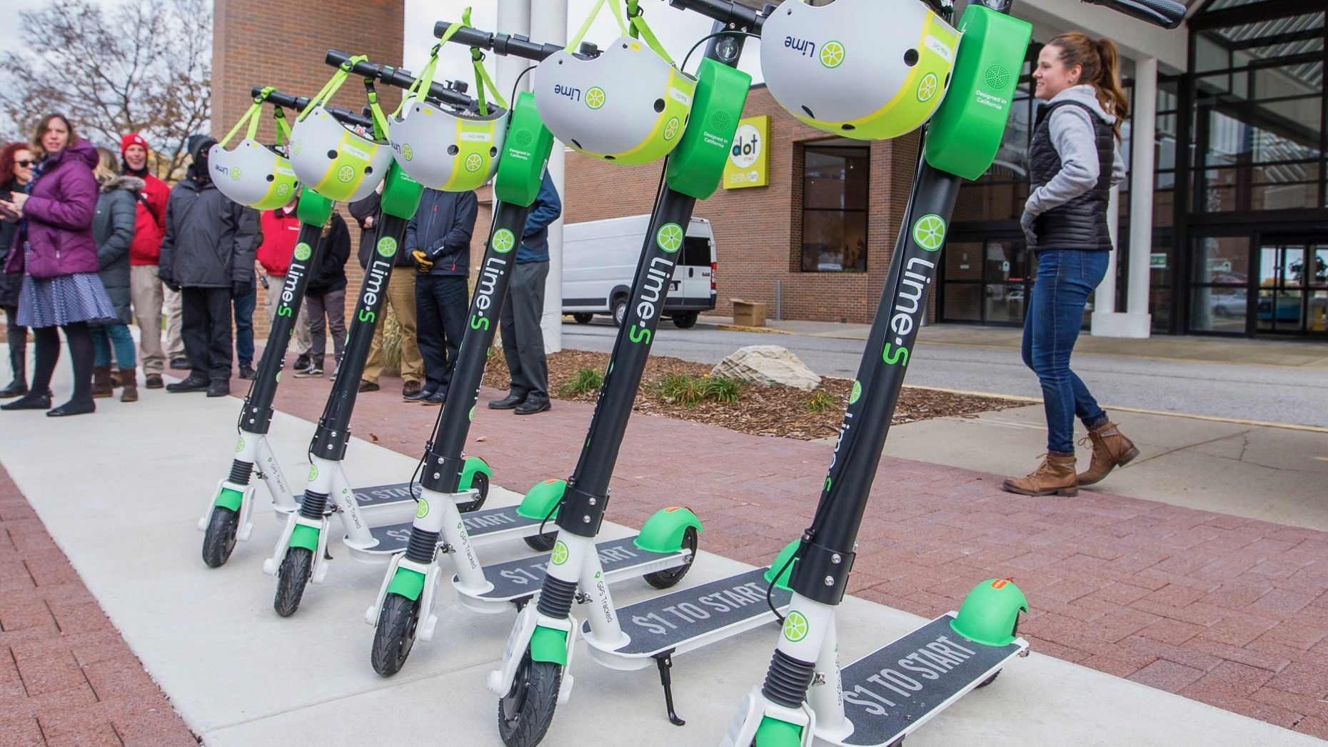 Lime scooters parked in South Bend, Ind. Photo: AP