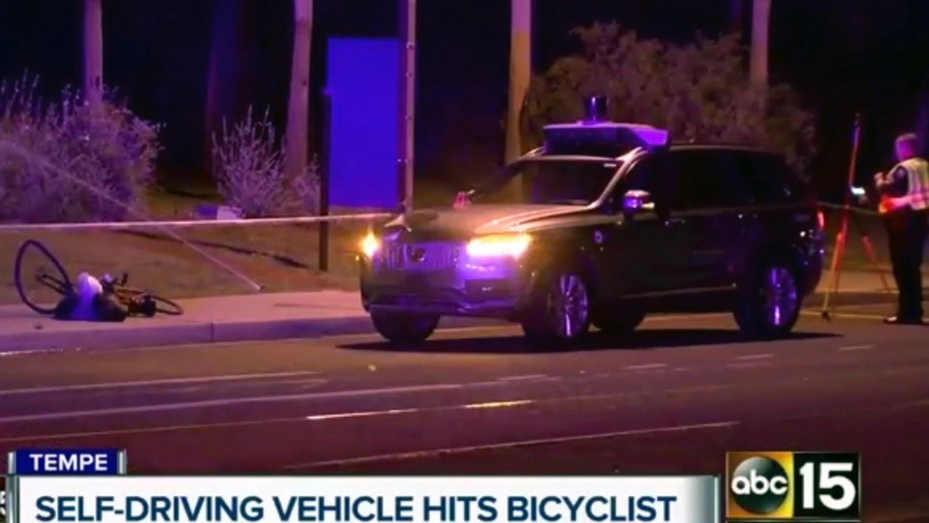A still image taken from an ABC TV station, showing the self-driving car that hit a pedestrian in Tempe, Ariz., last March. Photo by AP