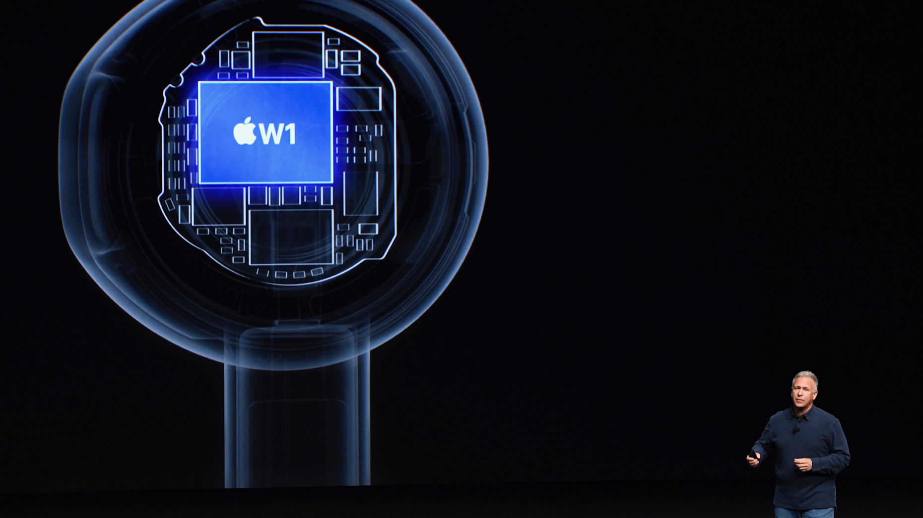 A view of an Apple wireless chip inside the company's AirPods at a 2016 event. Photo by Bloomberg