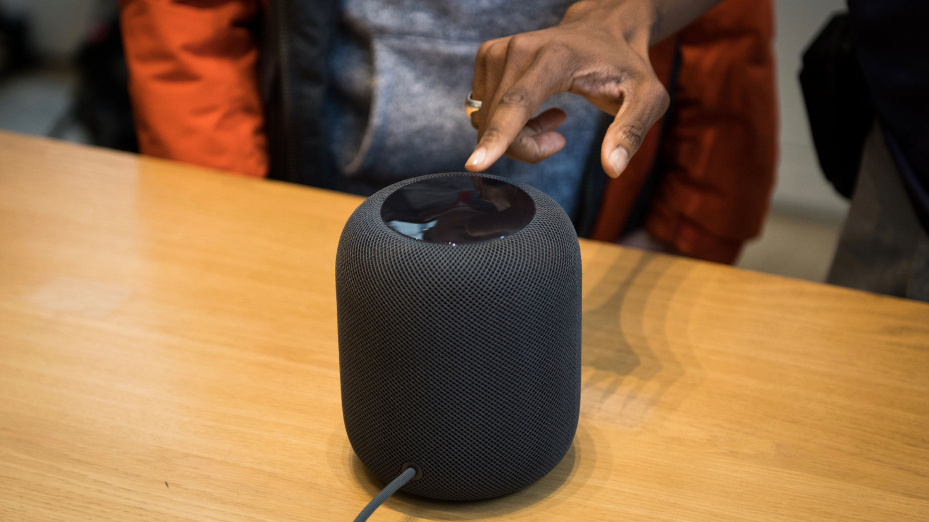 Apple's HomePod. Photo by Bloomberg