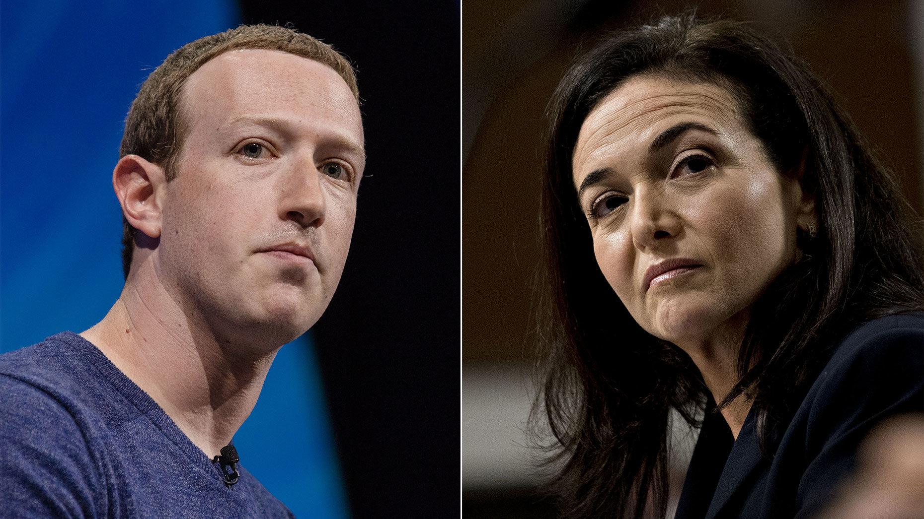Mark Zuckerberg and Sheryl Sandberg. Photos by Bloomberg