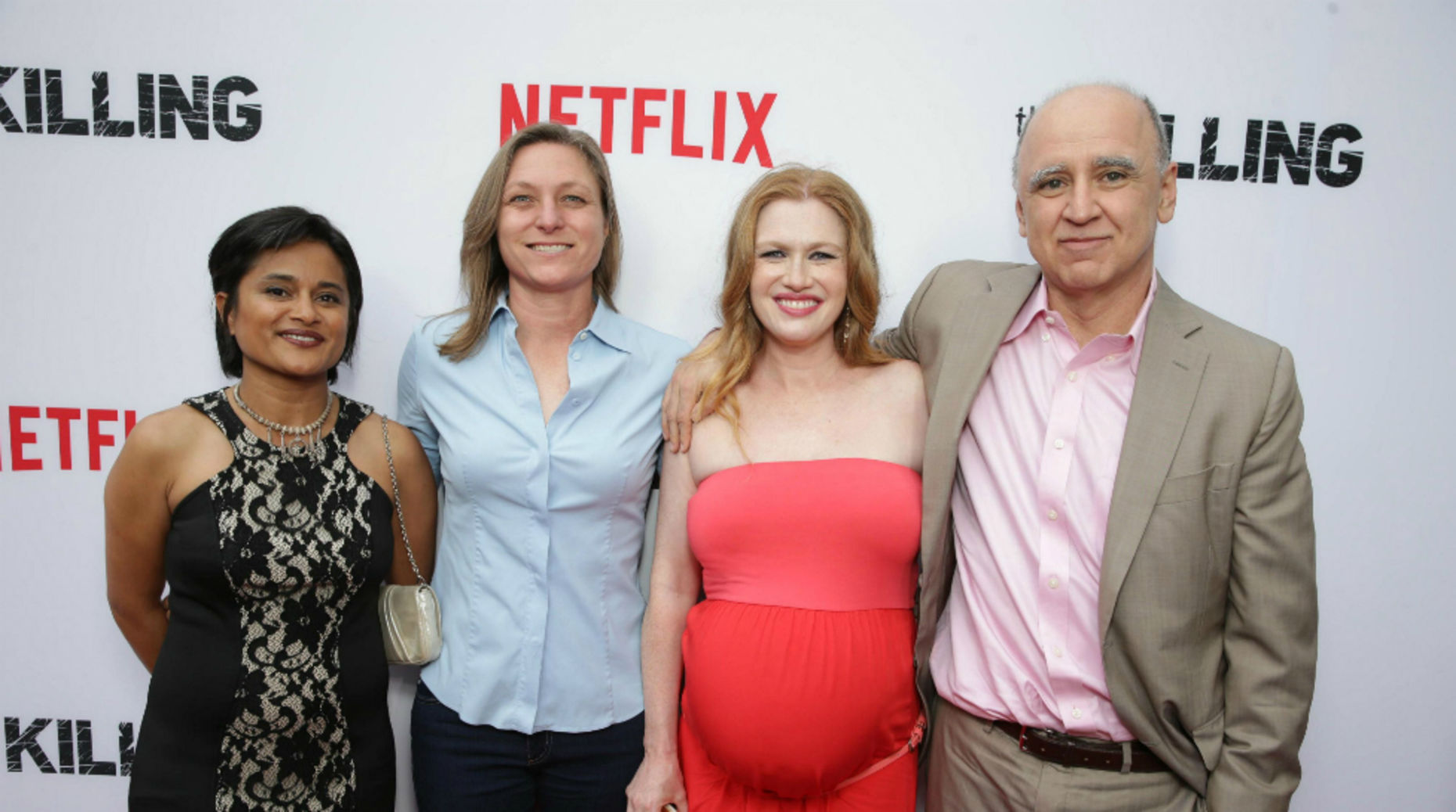 Producer Veena Sud, Netflix's Cindy Holland, star Mireille Enos and Fox's David Madden. AP Photo.
