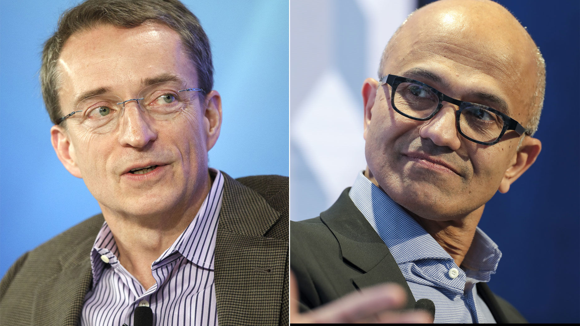 VMware's Pat Gelsinger, left, and Microsoft's Satya Nadella. Photos by Bloomberg.