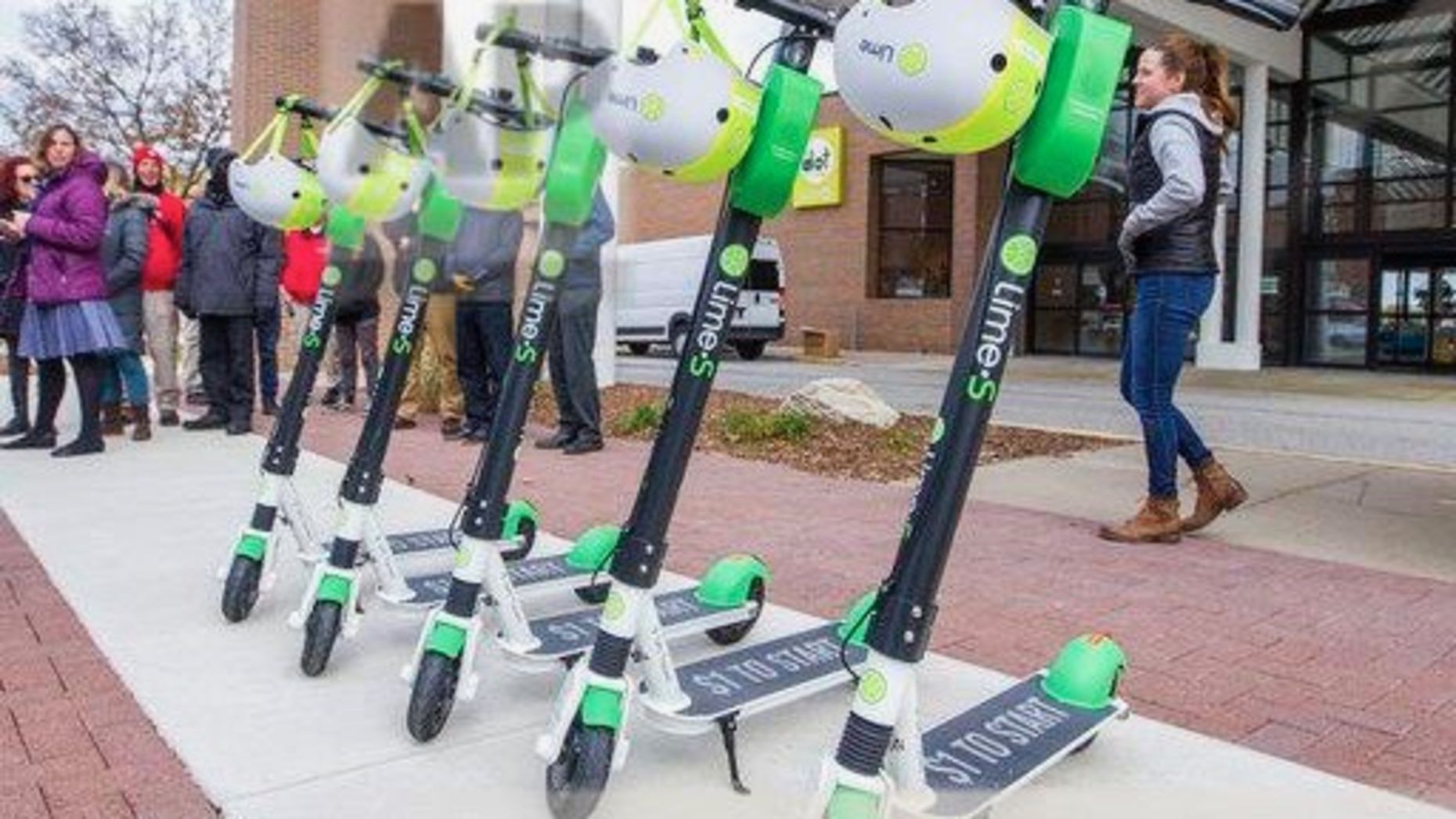 Lime scooters in South Bend, Ind. Photo: AP