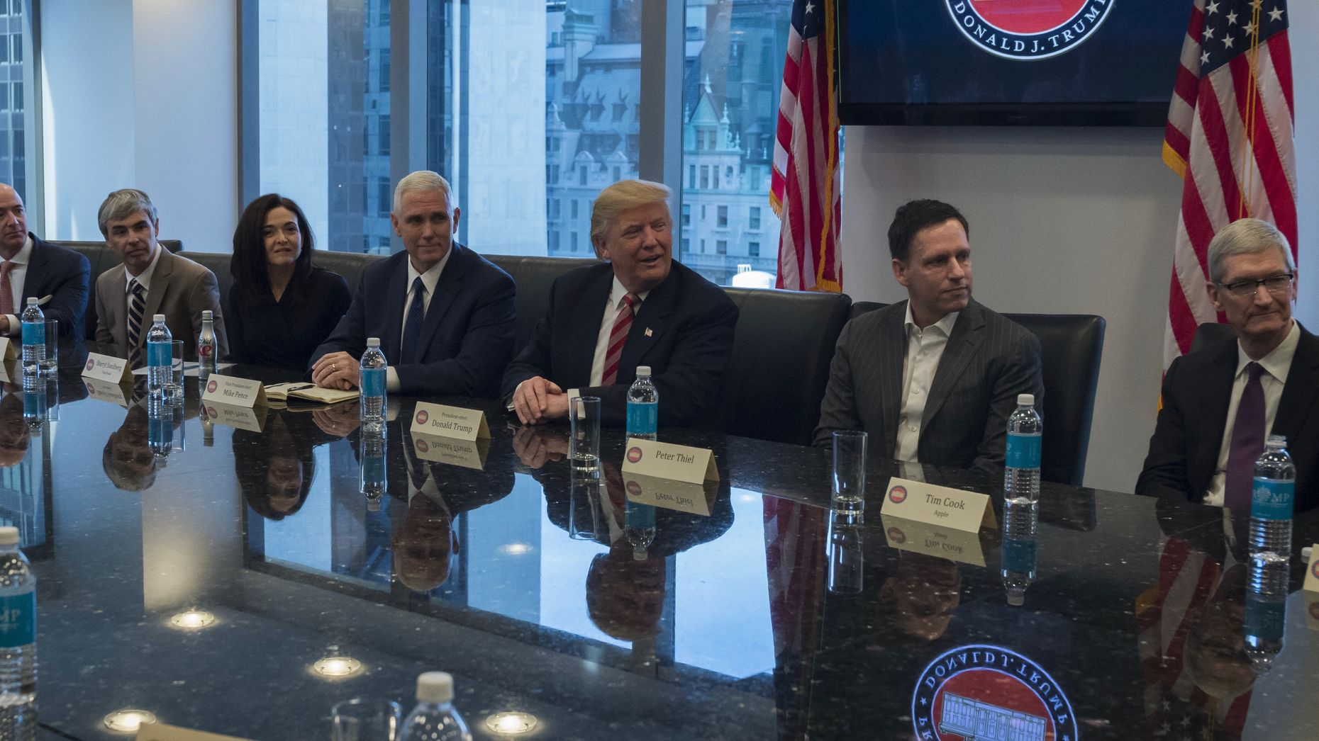 Tech leaders with President Trump. Photo by Bloomberg