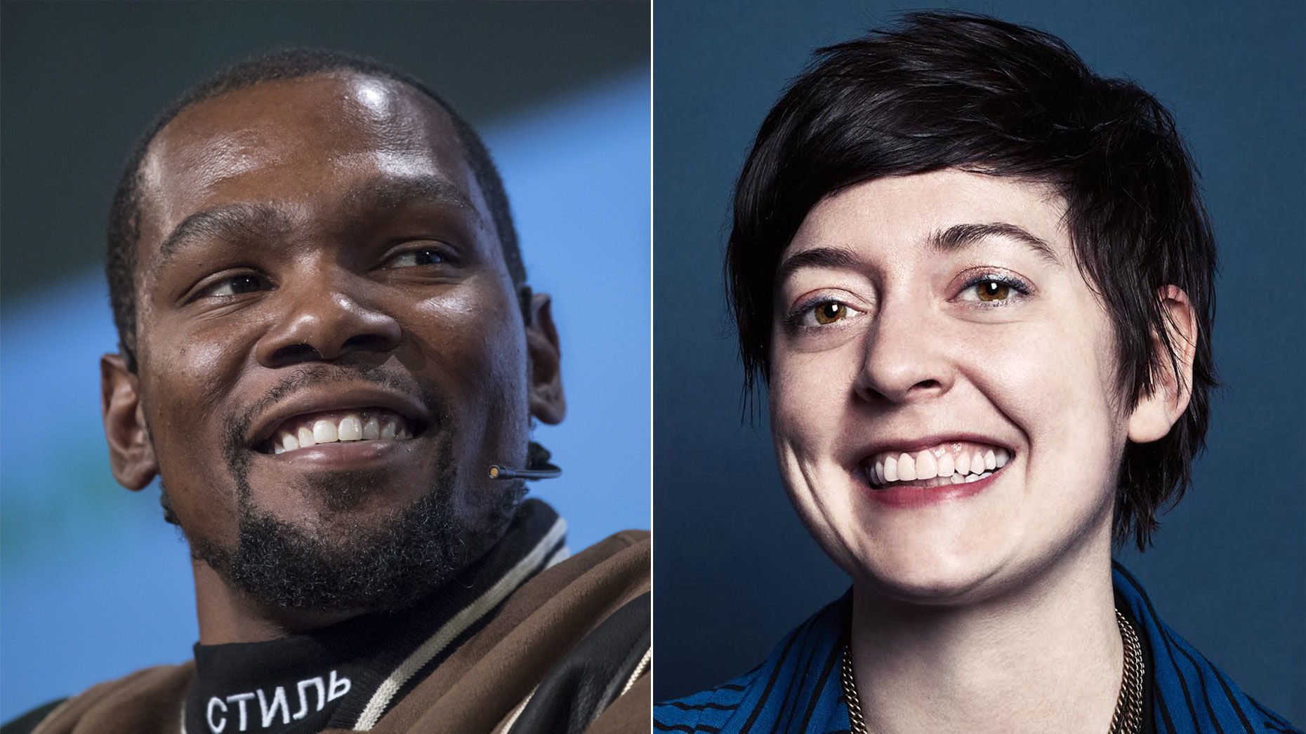 Kevin Durant, left, and Sarah Flynn. Photos by Bloomberg and courtesy of Thirty Five Ventures.