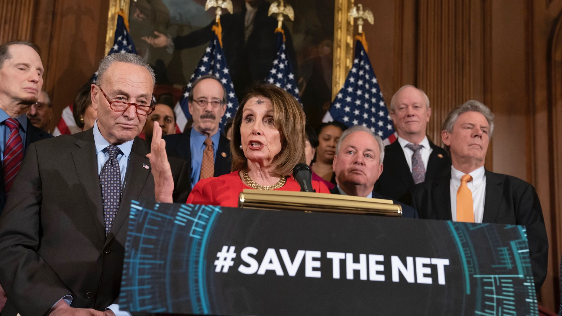 House Speaker Nancy Pelosi and Senate Minority Leader Chuck Schumer unveil the Save the Internet Act earlier in March. Photo by AP.