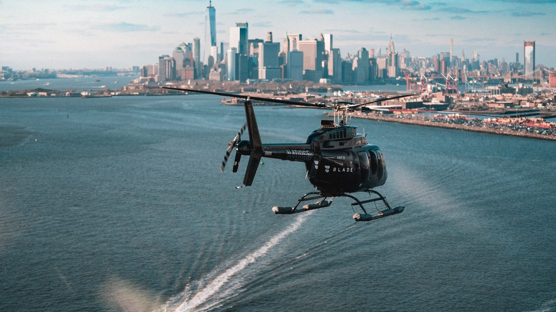 A Blade helicopter over New York Harbor. Image: Blade