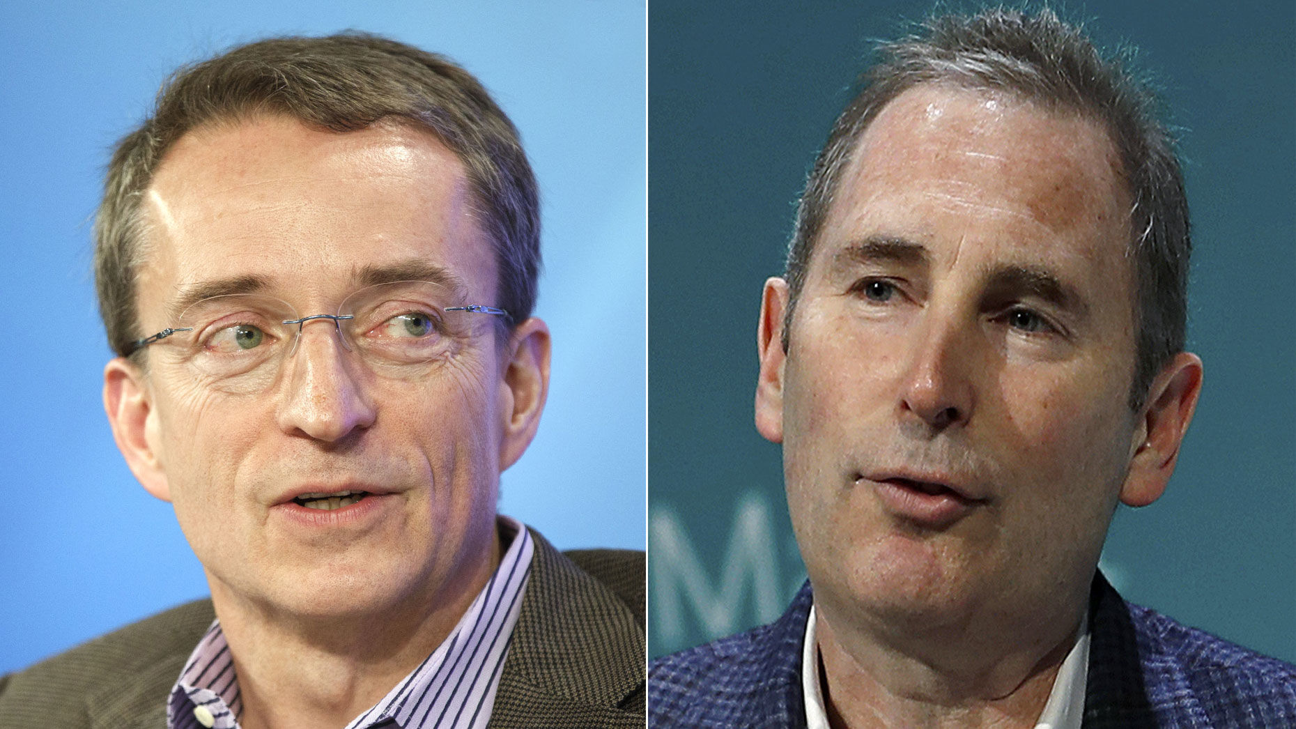 VMware CEO Pat Gelsinger, left, and Amazon Web Services CEO Andy Jassy. Photos by Bloomberg