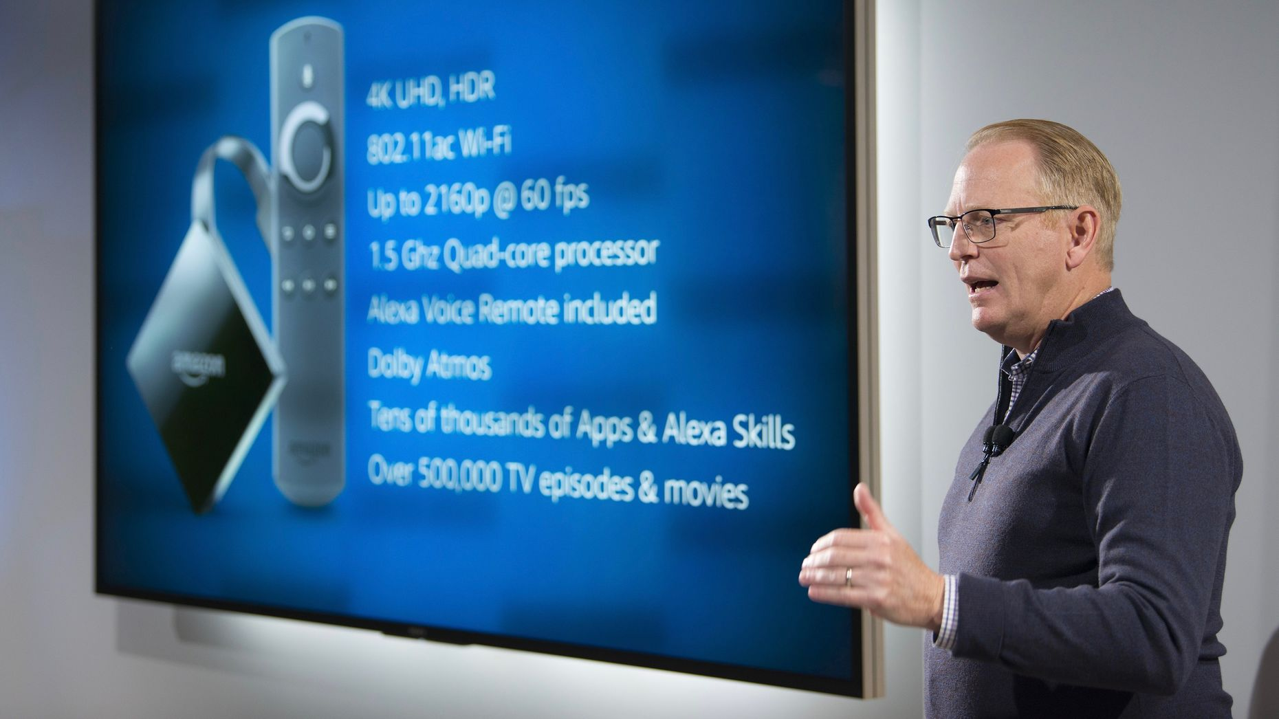 Amazon's senior vice president of devices, David Limp, talking bout the Fire TV in 2017. Photo by Bloomberg.