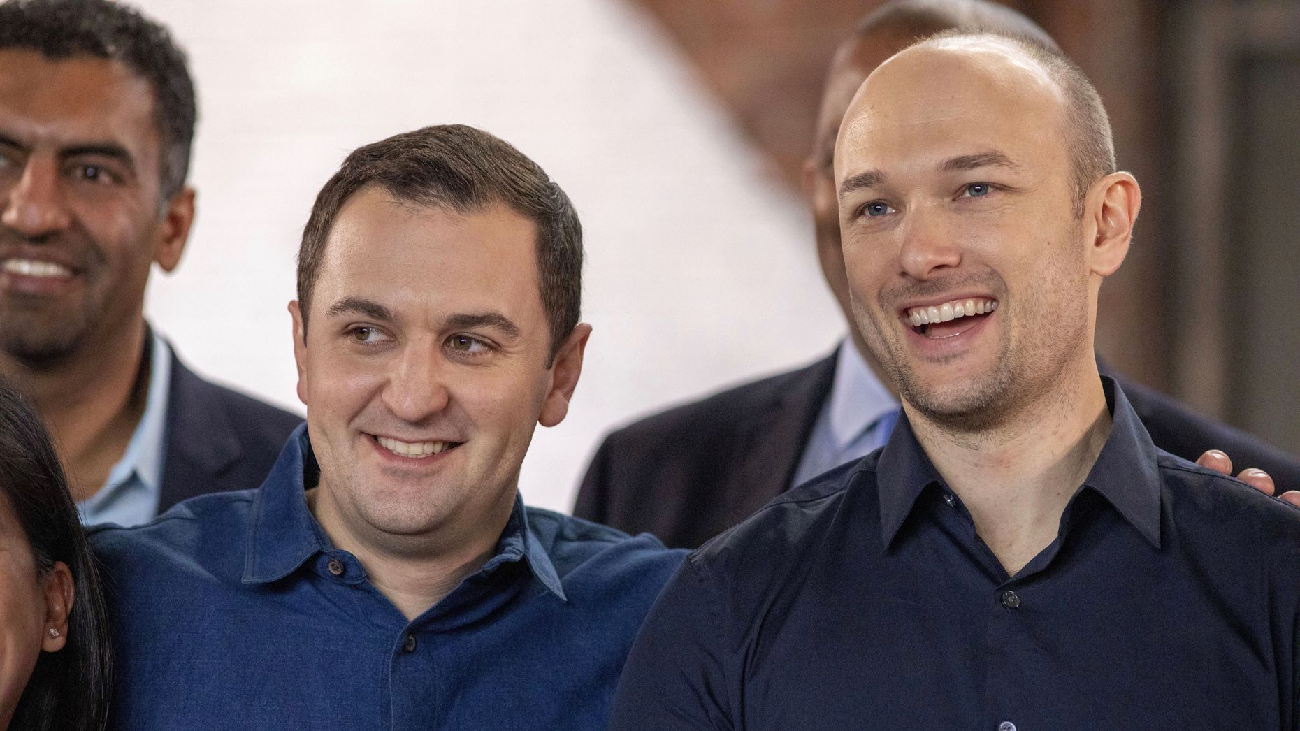 Lyft's co founders John Zimmer and Logan Green after the company's IPO last Friday. Photo by Bloomberg.