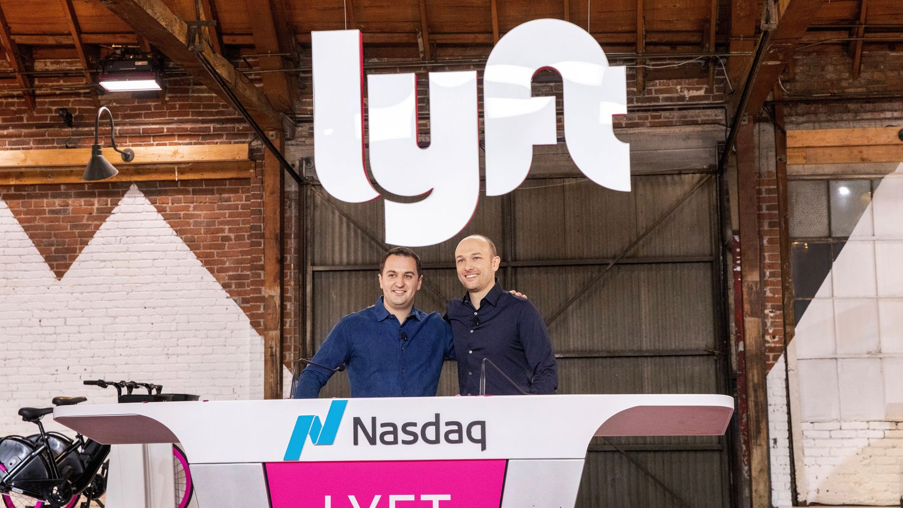 Lyft's co-founders John Zimmer and Logan Green the day the company went public. Photo by Bloomberg