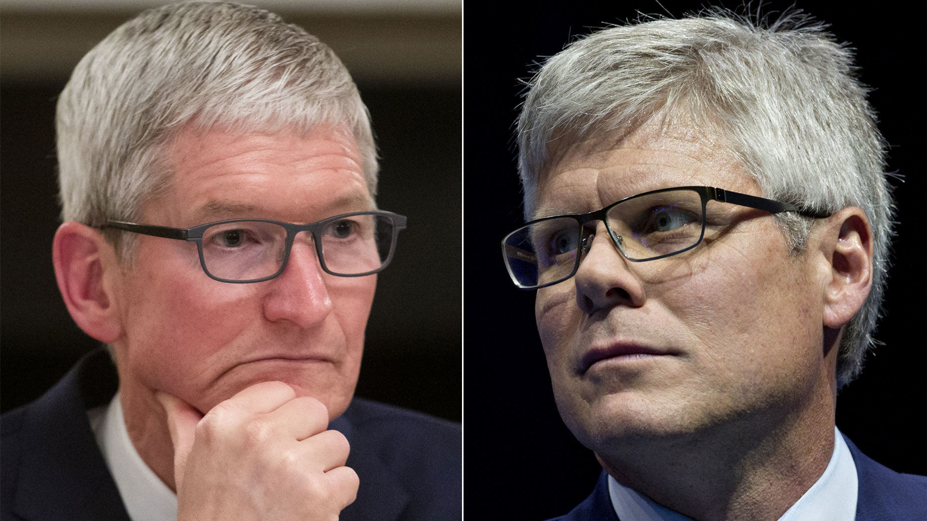 Apple CEO Tim Cook (left) and Qualcomm CEO Steve Mollenkopf. Photos by Bloomberg