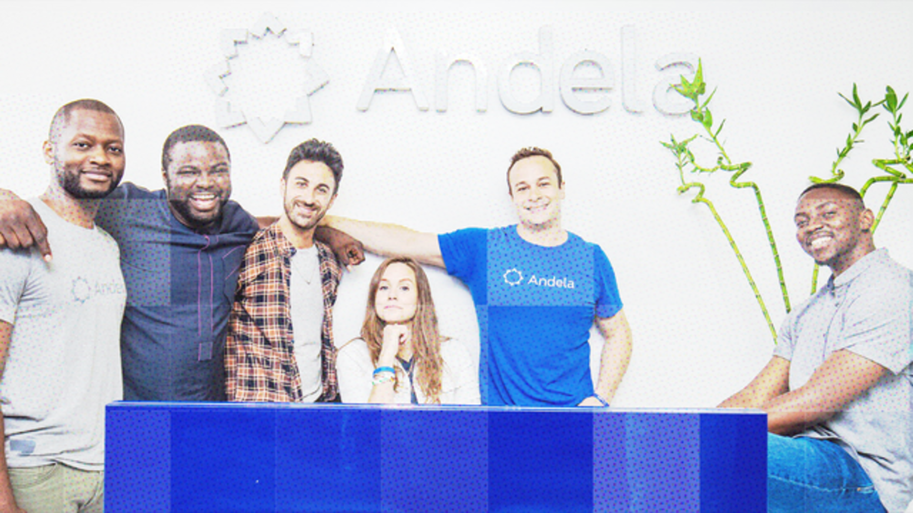 Andela co-founders, l.-r., Brice Nkengsa, Iyinoluwa Aboyeji, Ian Carnevale, Christina Sass, Jeremy Johnson, Nadayar Enegesi. Photo: Andela