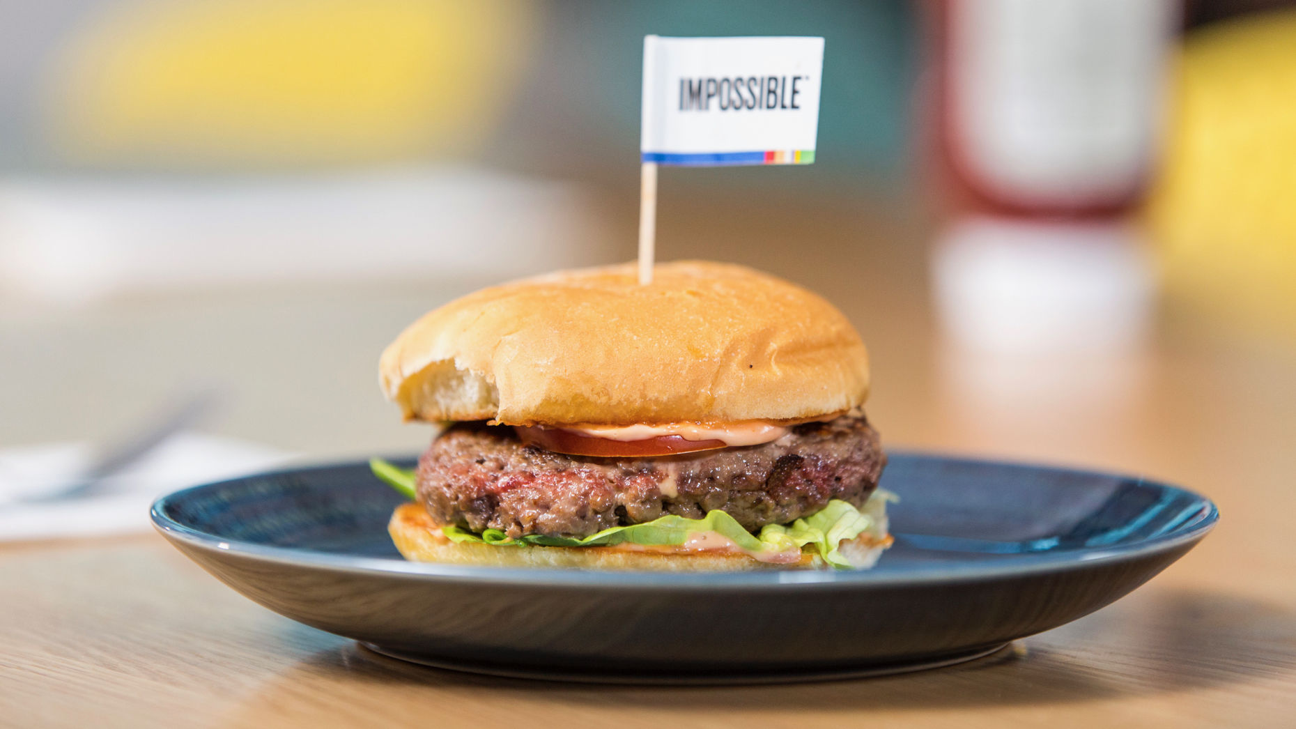 A plant-based burger from Impossible Foods. Photo by Impossible Foods