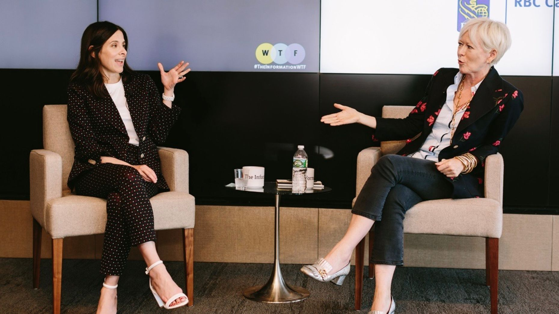 Former Hearst executive Joanna Coles, on the right, talking to The Information Editor in Chief Jessica Lessin in an on-stage interview at The Information's WTF event on Tuesday. Photo by Karen Obrist