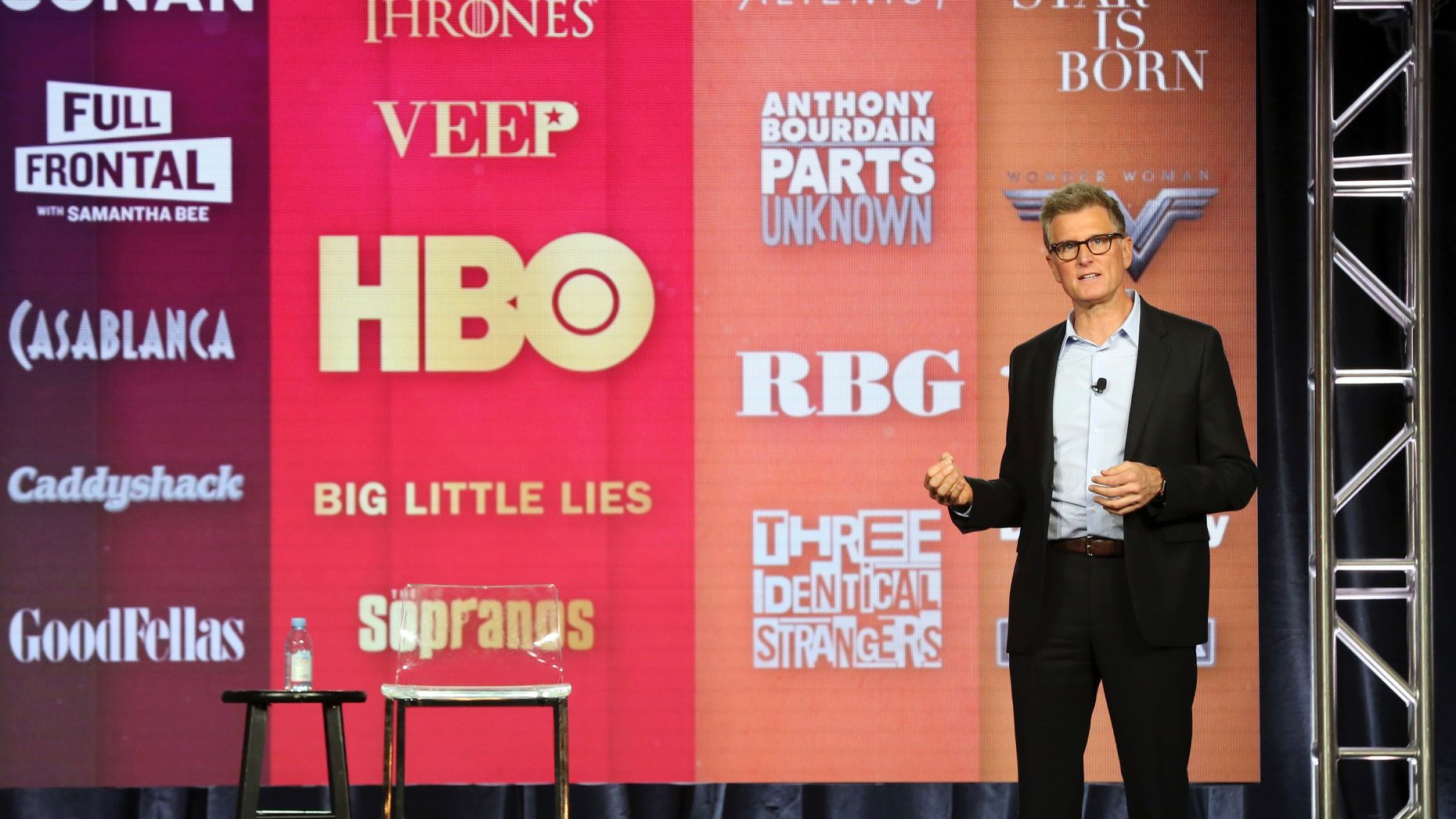 Kevin Reilly, HBO Max's Chief Content Officer, at a briefing for TV reporters earlier this year. Photo by AP
